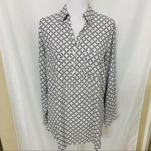 Pleione Long Sleeve Tunic Blouse M White Black